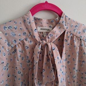 Monteau Tops - 💜 2/$20! Monteau 3/4 Sleeve Tie-Neck Bow Blouse